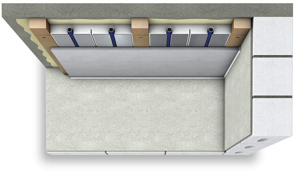 3D model stropního chlazení sdeskou atrubkami
