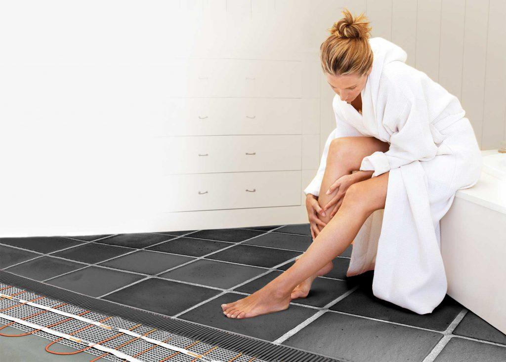 Řez podlahou - Topná rohož vkoupelně
