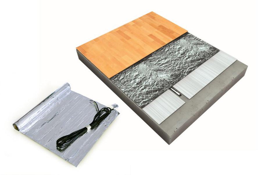 Skladba topné rohože pod plovoucí podlahu - rohož shliníkovou fólií