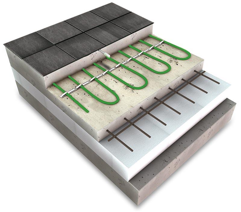 Skladba elektrického podlahového vytápění stopným kabelem pod dlažbou
