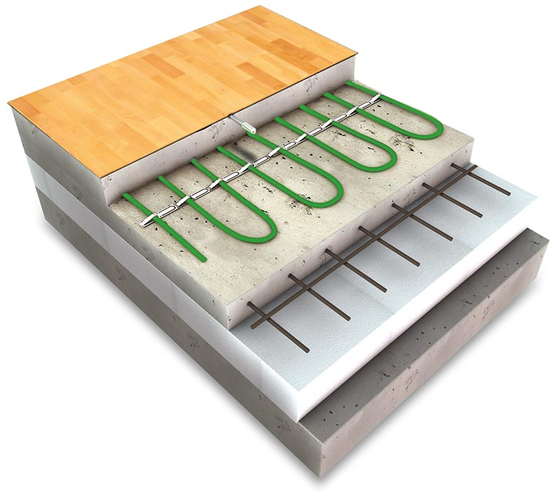 Skladba elektrického podlahového vytápění stopným kabelem pod plovoucí podlahou.